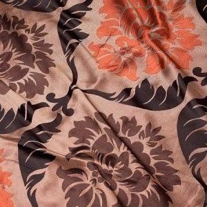 Tkanina zasłonowa 81004 /7 brązowy z czarnym i czerwonym
