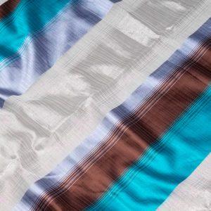 Firana ORGANZA 4302 /7 niebieski i brazowy