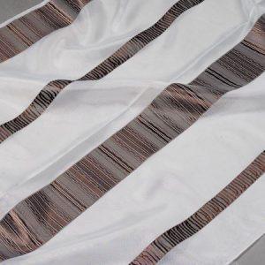 Firana ORGANZA 50655 /204 biały z brązowy