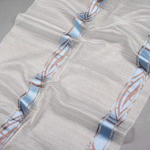 Firana ORGANZA 59502 19 /niebieski z brązowym