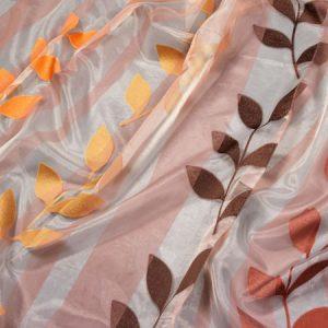 Firana ORGANZA PERU 75015 /6 pomarańczowy, żółty, brązowy i rudy