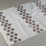 Firana ORGANZA SEMI J 910 /9 biały z brązowym