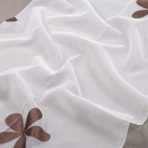 Firana ORGANZA SEMI JG 001 /biały z brązowym