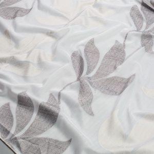 Firana WOAL 51192 /109 biały z brązowym i kremowym