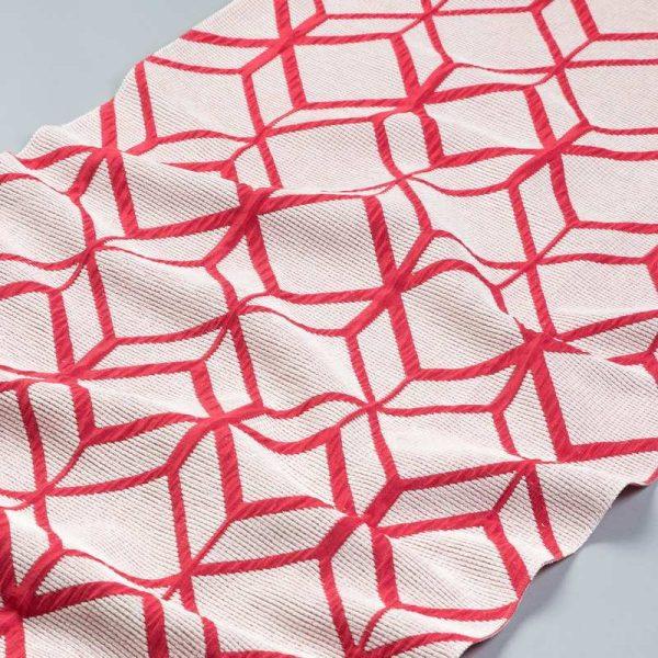 Tkanina zasłonowa AS 22663 /13 beżowy z czerwonym