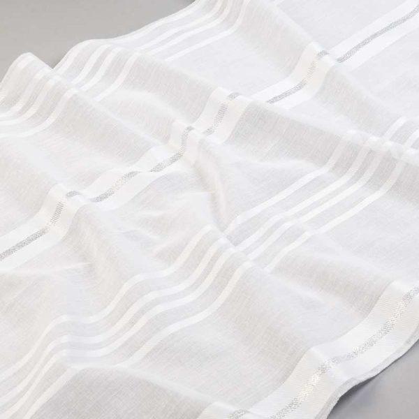 Tkanina zasłonowa BD 13029 /07 biel optyczna i srebrny