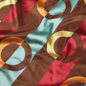 Tkanina zasłonowa XC 016 /8A brązowy ciemny z bordowym, niebieskim, pomarańczowym i seledynowym