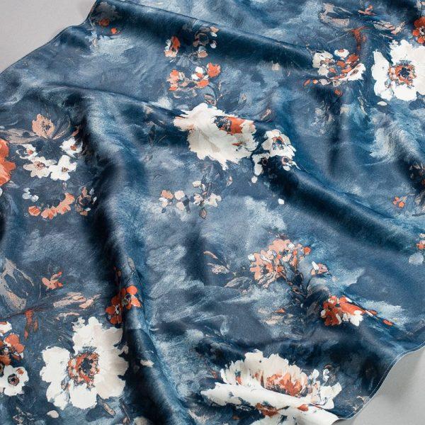 Tkanina zasłonowa KHP 2035 /4 niebieski z białym i brązowym