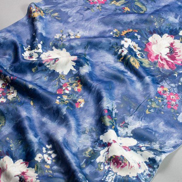 Tkanina zasłonowa KHP 2035 /5 niebieski z białym i różowym