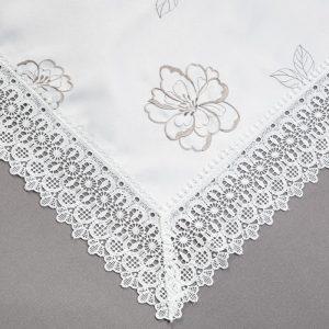 OBRUS 16340 /white (biały z grafitowym haftem)