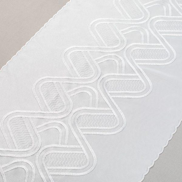 Panel firanowy 30827 /white silver- biały podkład ze srebrnym haftem